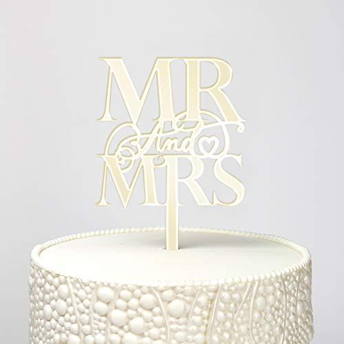 Elegante Mr & Mrs Premium Spiegel Goud Acryl Taart Topper (Long Pick), Keepsakes, Cupcake Party Decoraties (Kinderen, Volwassene, Verjaardagen, Bruiloften, Jubilea, Nieuwigheid)