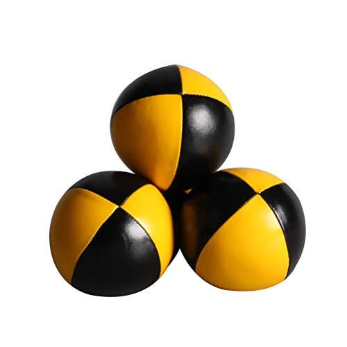 LIOOBO Juego de 3 Bolas de Malabares para Principiantes, Bolas de Malabares de Calidad, Kit de Bolas de Malabares duraderos, Bolas de Malabares fáciles y Suaves para niñas y Adultos (Amarillo Negro)