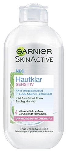 Garnier Hautklar Sensitiv Anti-Unreinheiten Pflege-Gesichtswasser, verfeinert die Poren, reinigt und beruhigt die Haut, 3er-Pack (3 x 200 ml)