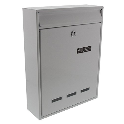 BURG-WÄCHTER Anlagenbriefkasten, A4 Einwurf-Format, EU Norm EN 13724, Verzinkter Stahl, Köln 872 W, Weiß