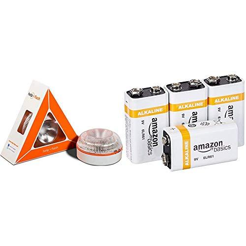 Help flash - Luz de Emergencia autónoma - Señal v16 de preseñalización de Peligro, homologada DGT & AmazonBasics – Pilas alcalinas de 9voltios de Uso Diario (Pack de 4uds.)