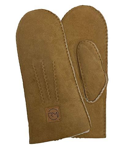 Rohn Moden Lammfell Handschuhe Arber echtes Merinolamm für Damen und Herren, Fäustlinge, Fausthandschuhe in Premiumqualität aus spanischem Merino camel Größe 8