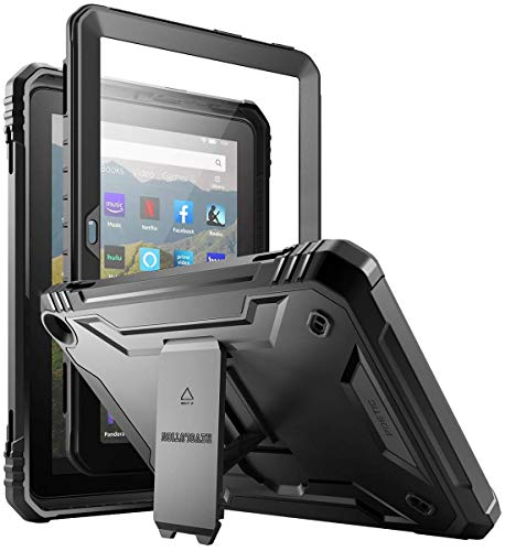 Poetic Revolution Series for All-New Kindle Fire HD 8 Tablet and Fire HD 8 Plus Tablet (10th Gen, 2020 Release) Kickstand Rugged Case, Full-Body Heavy Duty Case with Built-in-Screen Protector, Black