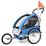 <span class='highlight'><span class='highlight'>Tidyard</span></span> Kids' Bicycle Trailer Jogging Stroller 2 in 1 Child Folding Trailer Dark Blue and Grey