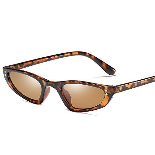 DLSM Kleine Cat Eye Sonnenbrille Frauen Vintage Rechteck Retro Cateye Brille Schmale Sonnenbrille Niet Shades UV400-Leopard
