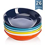Sweese 117.002 Porcelain Salad Pasta Bowls - 26 Ounce - Set of 6, Hot Assorted Colors