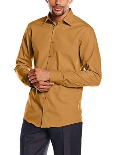 Venti Hemd Curry Gelb Uni Langarm Slim Fit Tailliert Kentkragen 100% Feinste Baumwolle Popeline Bügelfrei 36