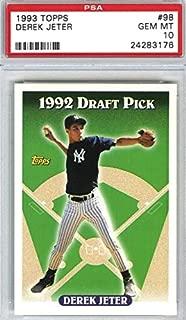 1993 Topps - Derek Jeter - 1992 Draft Pick - New York Yankees Baseball Rookie Card Graded PSA 10 GEM MINT RC #98