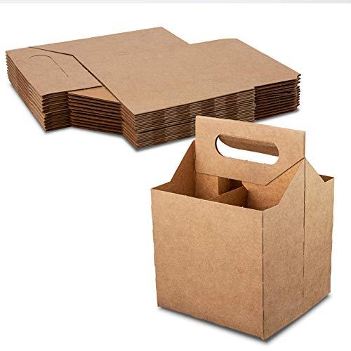 4 Bottle Holder Kraft Cardboard 12 oz. Beer or Soda Bottle Carrier for Safe And Easy Transport - 4 pack carrier by MT Products - (10 Pieces)