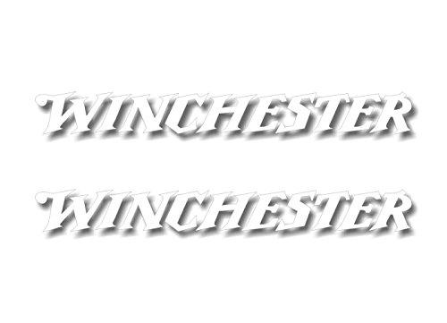 """2 Winchester White Vinyl Sticker 9"""" Decals Buck Hunting Gun Arms Rifle Storage Locker Cabinet Safe Decal Stickers (2 White Decals)"""