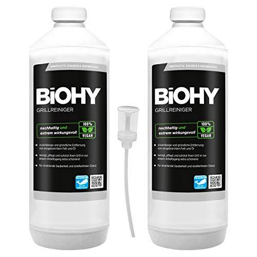 BiOHY Limpiador de parrillas (2 botellas de 1 litro) + Dosificador | limpiador para barbacoa de carbón vegetal, gas y eléctrica | espuma activa contra la grasa quemada y el aceite (Grillreiniger)
