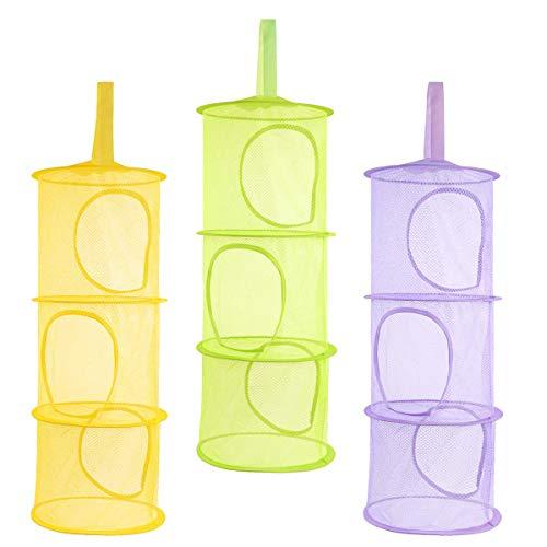 3 pcs Hanging Mesh Storage Basket 3 Tier Collapsible Network Toy Storage Hanging Bag Basket Small Toy Box