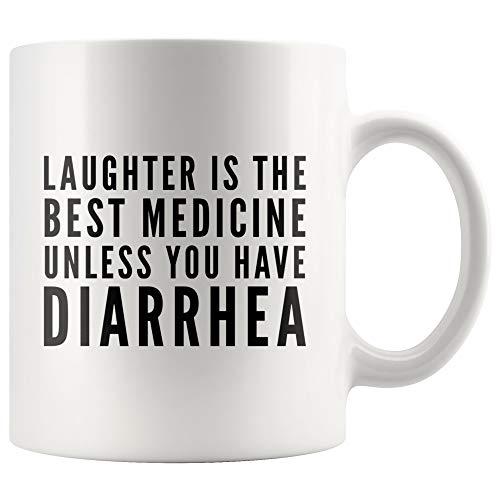 DKISEE Krijg Goed Geschenken voor Mannen Vrouwen Lachen is De Beste Geneeskunde Tenzij U Diarree Koffie Mok Chirurgie Herstel Ziekenhuis Geschenken 15oz Kleur: wit