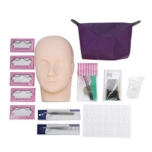 Eyelash Training Kit - Professional One Training Head Model, False Eyelashes Extension Practice Kit Tool, for Starter, 12Pcs/Set