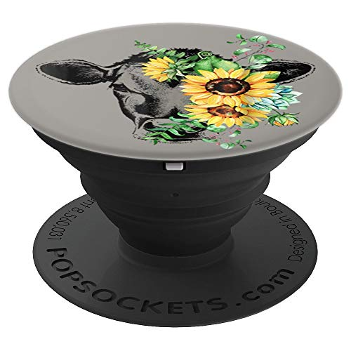 Cow Sunflower Funny Cow Lover Gift Idea PopSockets Grip and Stand for Phones and Tablets