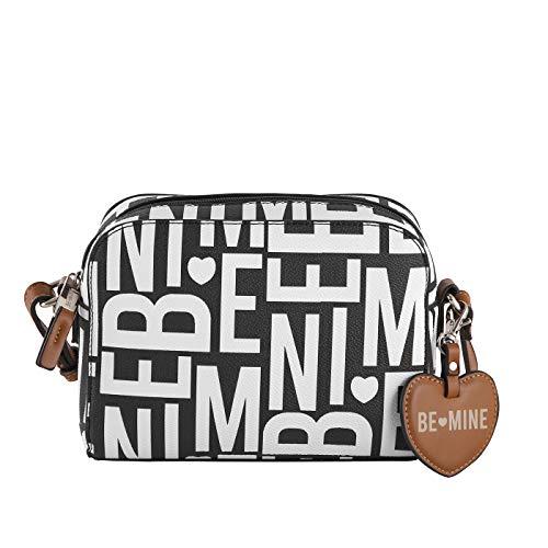Be Mine Umhängetasche Lotta | schicke Kunstleder Damen Handtasche | kleine Schultertasche für Damen (22 x 16 x 8 cm) (Black/White)
