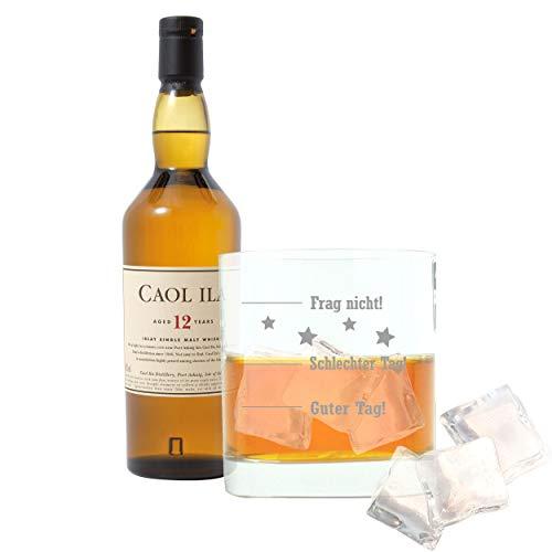 Whiskey 2er Set, Caol Ila 12 Years / Jahre, Single Malt, Whisky, Scotch, Alkohol, Alokoholgetränk, Flasche, 43%, 700 ml, 734790, Geschenk zum Vatertag, mit graviertem Glas
