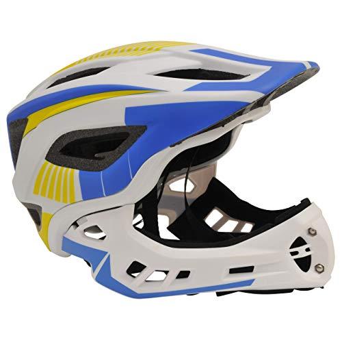 KIDDIMOTO 2 in 1 Casco Integrale da Ciclismo con mentoniera Rimovibile per Bambini e Ragazzi - Bianco Blu - M (53-58cm)