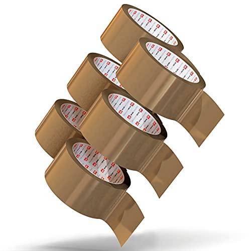 LILENO HOME Klebeband Braun 50mm x 66m [6 Rollen] leise abrollend - Paketklebeband Braun - Breites Packband als Packing Tape-Set - Braunes Paketband als Paket Klebeband