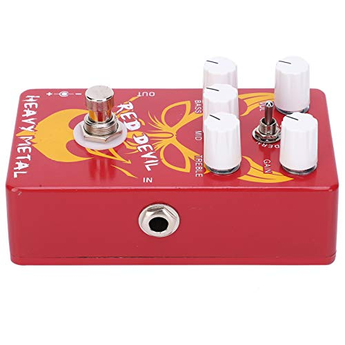 Effect Pedal, Heavy Metal Tone Adjustable Red Devil Distortion Pedal for Guitarists for Music Lovers