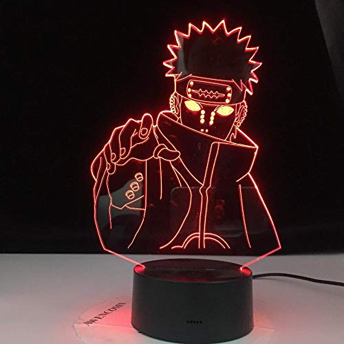 3D LED Night Light,Pain Nagato Figure Kids Colors Changing Child Bedroom Nightlight Table Lamp for Xmas/Birthday(Remote Control)