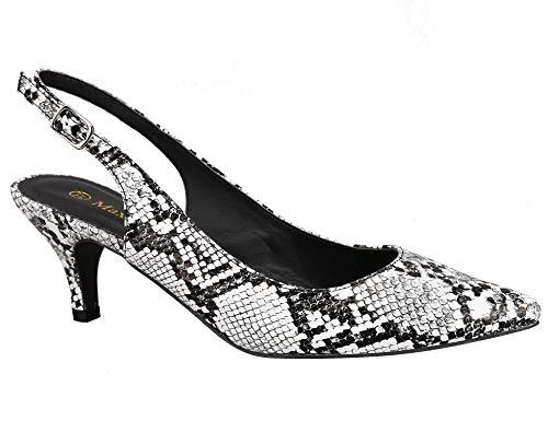 Greatonu Zapatos de Tacón de Aguja con Hebillas en el Tobillo Estampado de Serpiente Puntiagudo Talón Abierto Comodido Diario para Mujer Talla 40 EU