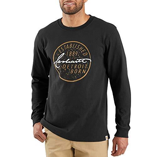 Carhartt Men's 103844 Workwear Detroit Born Graphic Long Sleeve T-Shirt - Large Regular - Black