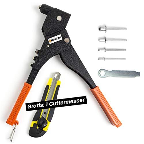 Hinrichs Nietenzange mit 100 Alu Nieten - Blindnietzange mit Drehkopf - Nietzange für Blindnieten - inklusive Montageschlüssel und Cuttermesser