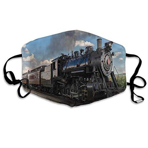 Garitin Vintage locomotora en el campo Paisaje verde hierba Puff Train Picture New Sun-Proof Fashion Mascarilla Banda Headwear para hombres y mujeres