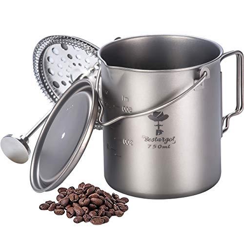 Bestargot Cafetera Francesa de Presión, Olla de Titanio Puro con Sistema de Filtración de Acero Inoxidable, Taza Multifuncional para Exteriores, Gran Capacidad 750 ml, 220 g
