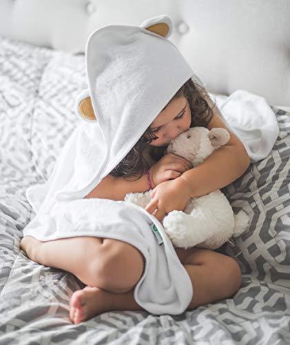Rejuvia Clinic - Toalla de baño con capucha de bambú orgánico ultra suave con orejas de oso y paño de lavado, perfecta para niños o niñas, lo suficientemente grande para niños pequeños