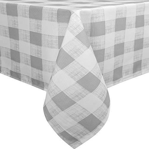 Eforcurtain Rustic Waterproof Polyester Table Cover Fabric Oblong Tablecloth for Table 60-Inch by 120-Inch Gray/White