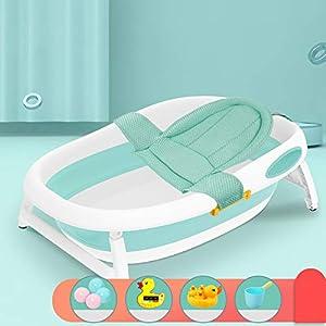 LHY BATHLEADER Bañeras para Bebes Plegables, Bañera Bebe Portatil con Red De Baño, Bañera Plegable 2-En-1 Ducha/Baño, Verde, 0-5 Años De Edad