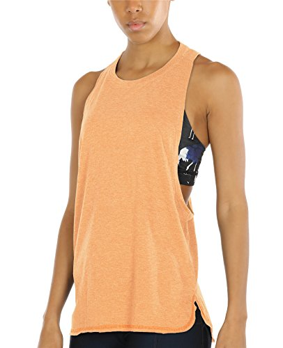 icyzone Workout Tank Tops for Women - Running Muscle Tank Sport Exercise Gym Yoga Tops Athletic Shirts (S, Pumpkin)