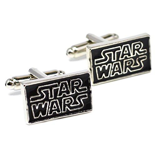 Star Wars Logo Boutons de manchette – Fantaisie Noir Boutons de manchette avec inscription en argent spécial Boîte en velours