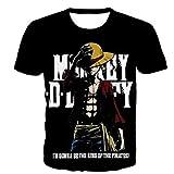 Uomo T-Shirt, 3D One Piece Monkey D. Luffy Stampa Unisex Maglietta, Allentata Girocollo, Femmina Abbigliamento Sportivo Casual a Maniche Corte, Top Morbido e Confortevole A-M