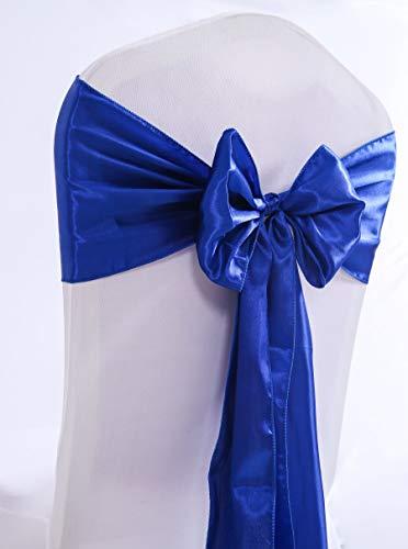Namvo - 25 piezas de silla con lazo elástico de satén para silla con lazo, decoración trasera para boda, fiesta, hogar, no incluye funda de silla (azul)