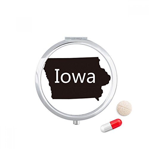 DIYthinker Iowa America USA Map Silhouette Travel Pocket Pill case Medicine Drug Storage Box Dispenser Mirror Gift
