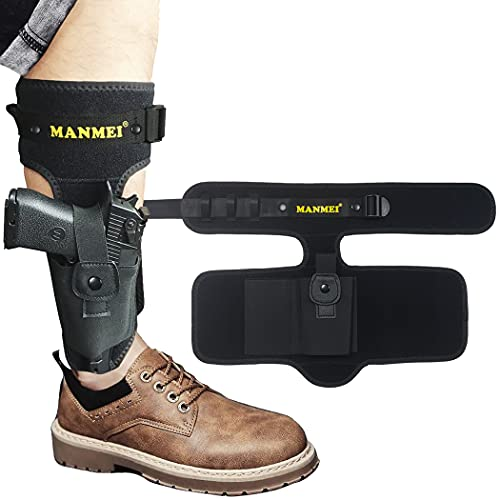 MANMEI Ankle Pistol Holster for Concealed Carry with Nylon Belt and Leg Band ,Two Bags for Gun and...