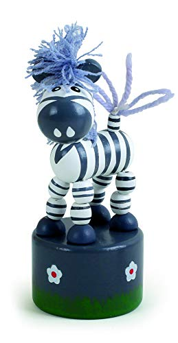 Small Foot 11198 Drückfigur Zebra aus Holz, FSC 100%-Zertifiziert, Mitgebsel Spielzeug, Mehrfarbig