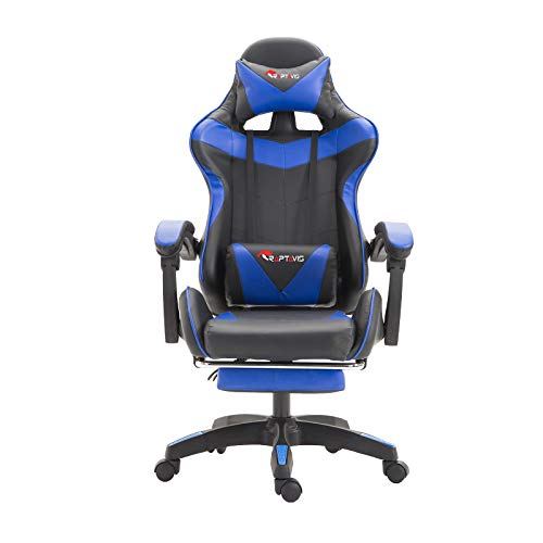 Computer Game, Streaming, Gaming Chair Office Chair Ergonomic Backrest and Headrest, Swivel Recliner with Lumbar Support, Height Adjustment Racing Chair (Blue)