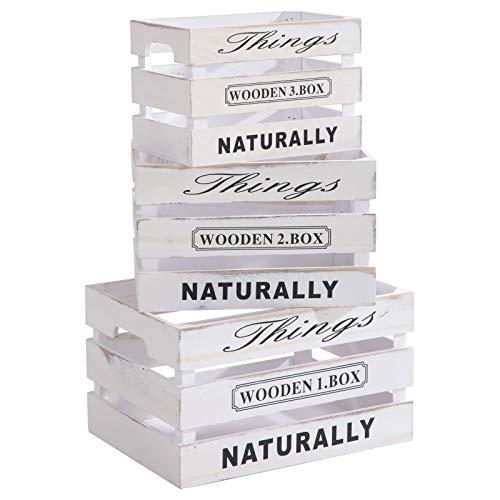 CARO-Möbel Holzkisten Chenoa Aufbewahrungskiste Holzbox 3er Set in weiß