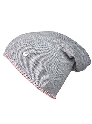 Cashmere Dreams Slouch-Beanie-Mütze mit Kaschmir - Hochwertige Strickmütze für Damen Mädchen - Herz - Heckel-Rand - One Size - warm und weich im Sommer Herbst und Winter Zwillingsherz (HGR/rosa)