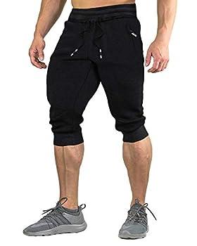 FASKUNOIE Three Quarter Capri Shorts for Men 3/4 Jogger Exercise Active Short Pants Black