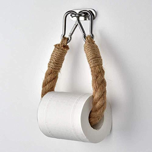 Portarrollos de papel higiénico autoadhesivo, cuerda de madera, estilo vintage, montado en la pared, rústico para baño o baño (14.7