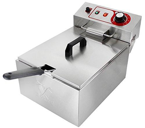 Beeketal 'BTF10a' Kaltzonen Fritteuse (9 Liter Volumen für max. 5 Liter Öl) Edelstahl Friteuse mit Temperaturkontrolle (Basic Serie)