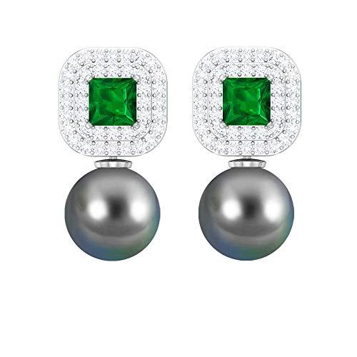 Pendientes colgantes de perlas de Tahití negro de 8 mm, 4x4 mm, esmeralda y halo de diamante, oro macizo, pendientes colgantes para mujer 14K Oro blanco, Par