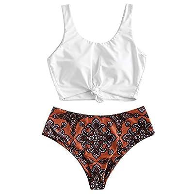 ZAFUL Women's Tankini Bikini Swimsuit Flower Print Two Piece Knot Ruched Bikini Set Swimwear Chocolate