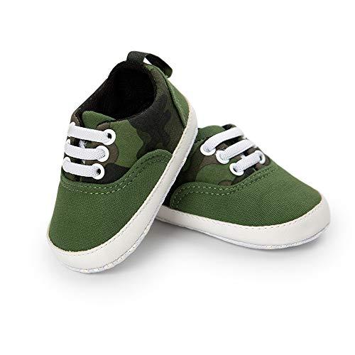 Zapatos de Primeros Pasos Bebe, Morbuy Recién Nacido Cuna Suela Niño y Niña Blanda Antideslizante Zapatillas (1 / 11cm / 0-6 Meses, Camuflaje Verde)
