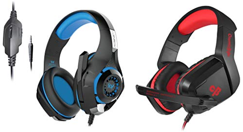 Kotion Each GS410 Headphones with Mic and for PS4, Xbox One, Laptop, PC, iPhone and Android Phones&Cosmic Byte H1 Gaming Headphone with Mic for PC, Laptops, Mobile, PS4, Xbox One (Red)